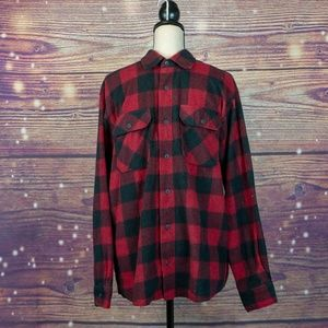 Wrangler Plaid Fleece Flannel Button Down Size L